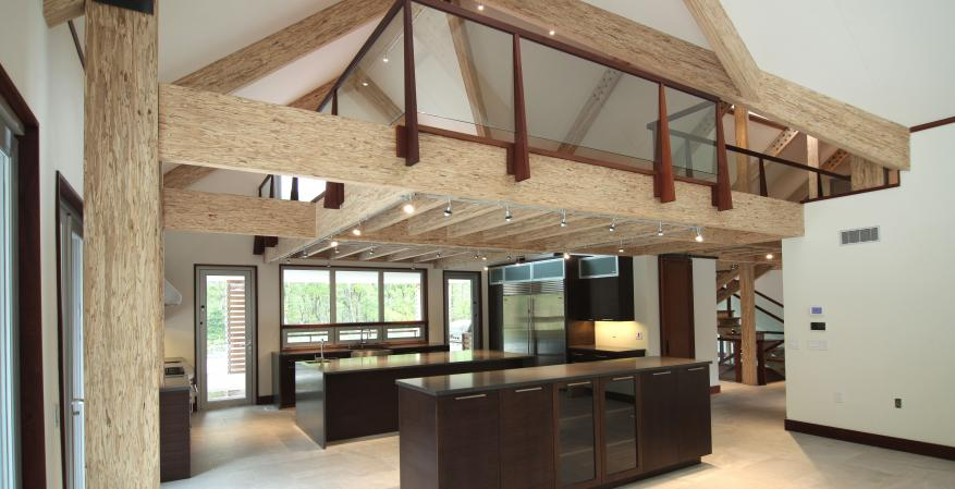 Exposed Engineered wood beams