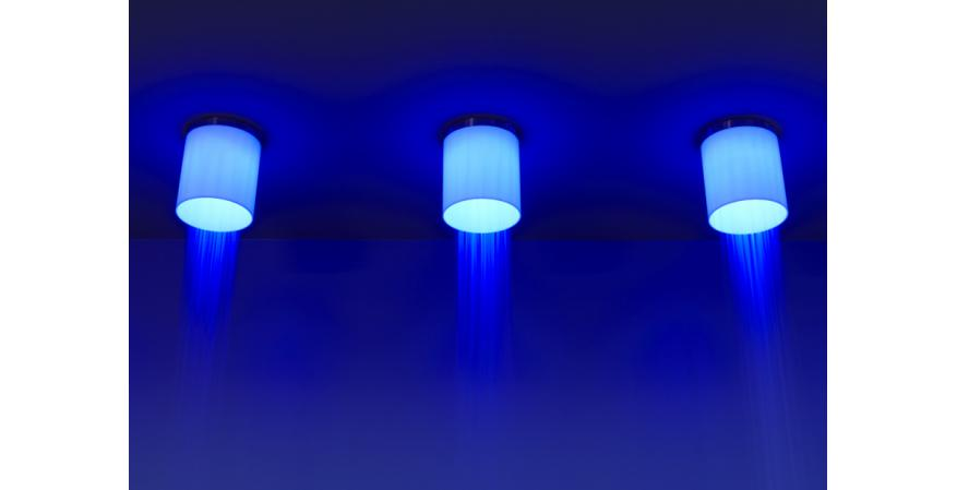 Blue showerhead with embedded red LED light from Antonio Lupi
