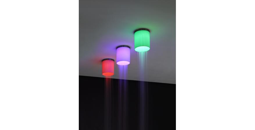 Multicolored showerhead with embedded red LED light from Antonio Lupi