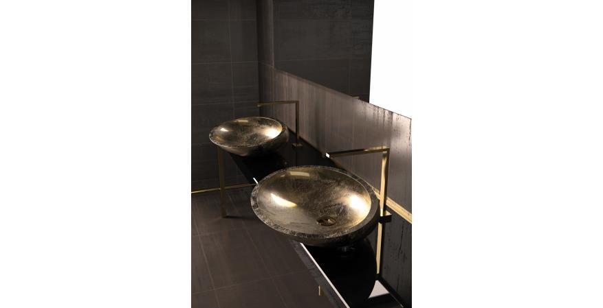 Glass Design bath sink in Kool Oro