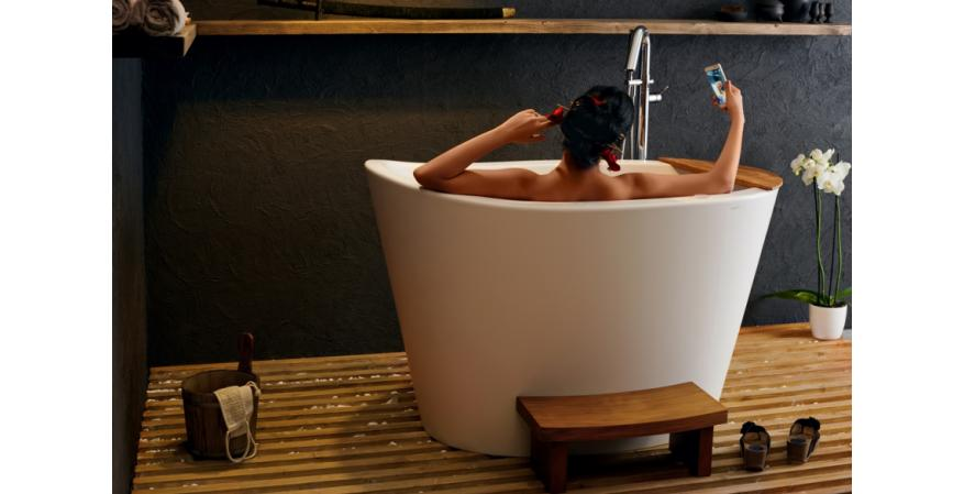 Aquatica true ofuro tranquility Heated Solid Surface Japanese bathtub