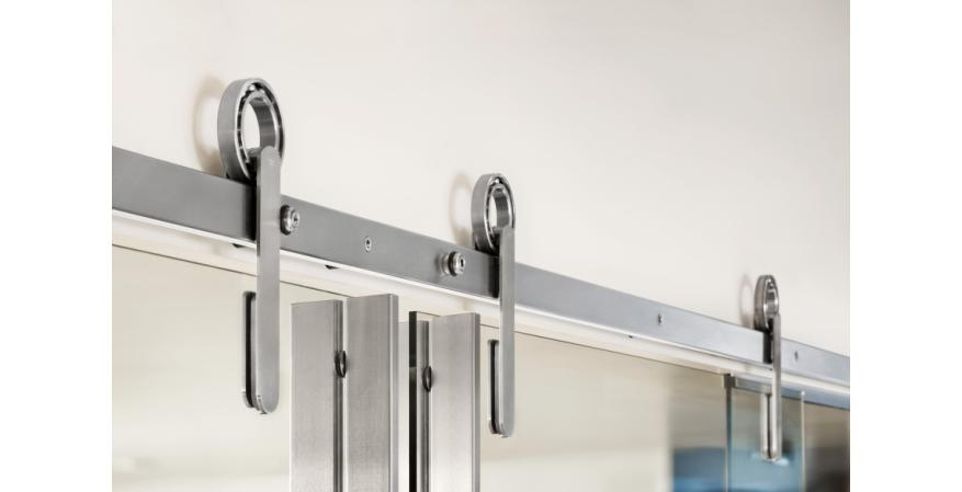 Krownlab has introduced a hubless sliding-door hardware system that can be installed in three different ways.