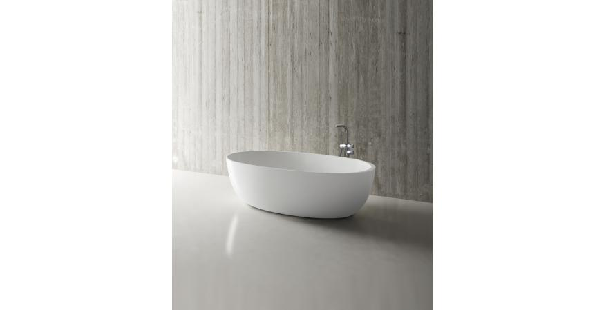 Offered in matte or gloss white, Blu Bathworks' Halo is an ovoid freestanding tub measuring 67 inches by 31-1/2 inches. Fabricated from blu•stone, an engineered quartzite material, it has a sloped back and an 82.5-gallon capacity. A 59-inch-long Petite model is also available.
