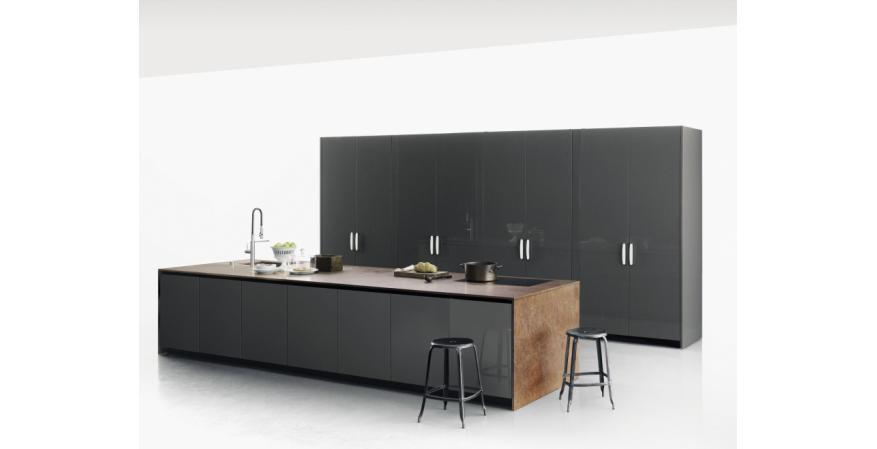 Gray Cabinets From Boffi, One Of Several Cabinet Brands