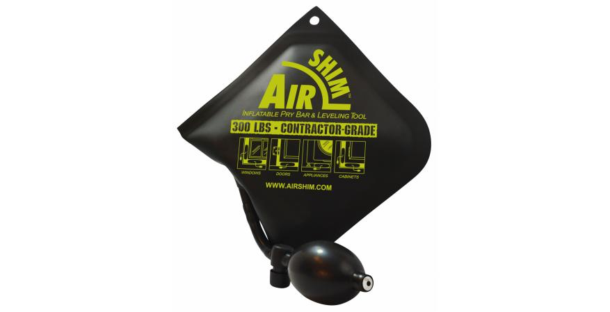 The AirShim inflatable bag provides an extra hand for installers, allowing them to position and hold items up to 300 pounds and span gaps from 3/32 inch to 2-1/2 inches. The unit operates via a squeeze pump and bleeder valve for precise alignments.