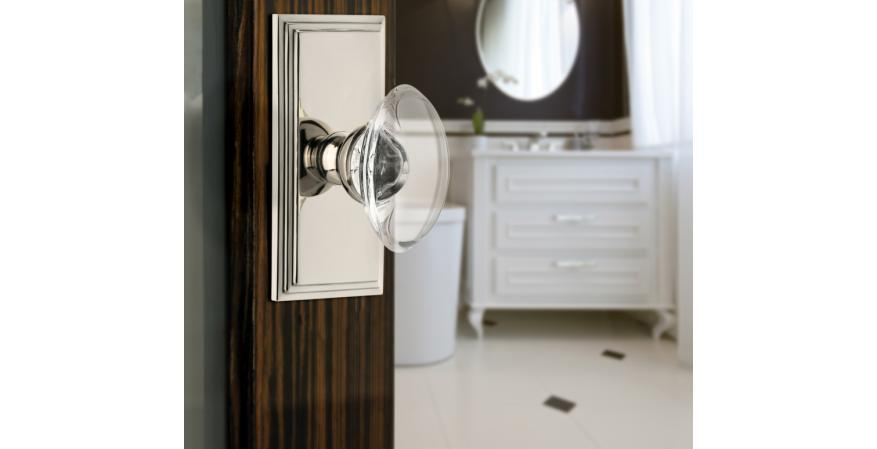 Carré Collection Provence Crystal Knob in polished nickel from Grandeur Hardware