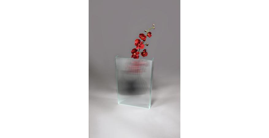 New Textured Channel Glass vase making flowers Seemingly Disappear
