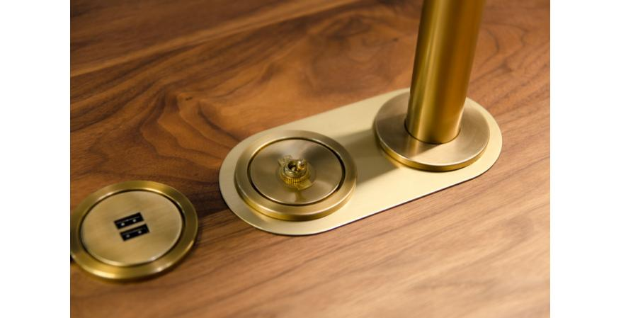 Juniper ground control switch on table brass finish
