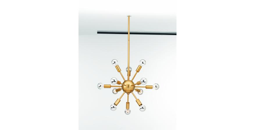 Ion is a Mid-Century Modern chandelier that was inspired by the space age. It can be configured with either 12 or 16 lights, and comes in polished nickel or brushed bronze.
