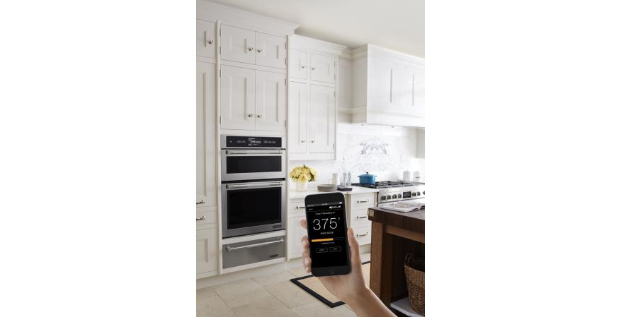 Jenn-Air's connected wall oven may not be the first to boast remote programming with an iOS or Android app, but in the near future, it will communicate with Nest, enabling the thermostat to lower room temperature if the oven is in use