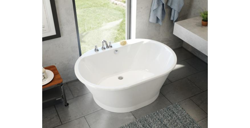 The Maax Professional line recently added Brioso, a white two-piece transitional-style tub available with a white, platinum grey, black, or ruby exterior. The tub comes in two sizes—60 inches by 42 inches and 66 inches by 36 inches—and can accommodate faucet installation on its deck