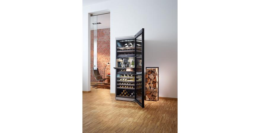 Miele's freestanding wine refrigerator stores up to 178 bottles in three temperature zones and includes a Sommelier Set consisting of a glass holder, a ConvinoBox for keeping wine accessories, and space to display three prized wine bottles. Customizable storage racks accommodate different bottle sizes, and a Decanting Rack allows wine sediment to settle at the bottom before pouring.