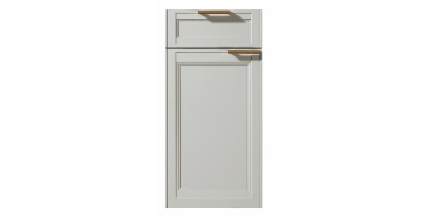 These cabinet doors are heftier than most to accommodate the vertical and horizontal banding that lend the recessed panel fronts dimension and depth. Decorative moldings, leg and edge details, as well as strategically placed bespoke solid brass pulls, further distinguish the design.