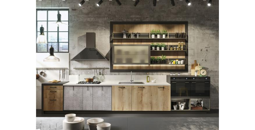 The Loft cabinet line is aimed at young buyers who prefer urban living. It mixes traditional materials with new design and draws on the popularity of the renovated warehouse design concept.