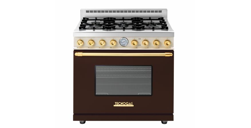 Italian appliance manufacturer Tecnogas Superiore made its U.S. debut with Next and Deco, range and ventilation hood lines specifically created for North America. The Deco comes with Art Deco-inspired hardware in bronze, gold, or chrome.