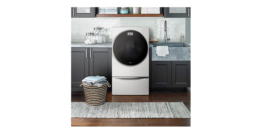 The prototype Smart All-in-One Care Washer and Dryer Combo washes and dries clothes in the same machine. Load & Go bulk dispensing automatically dispenses the right amount of detergent, and the unit senses when laundry supplies are low and can automatically order more from Amazon.