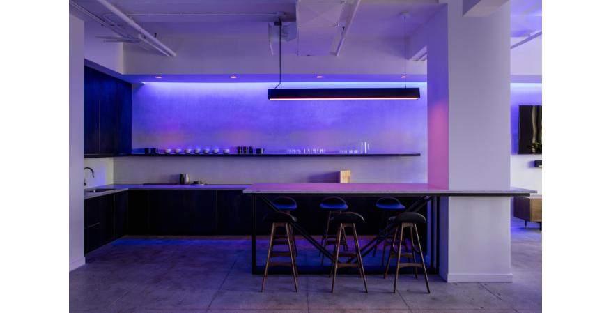 Ketra LED lighting in kitchen, purple