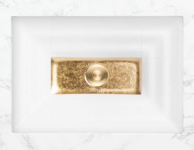 Linkasink Artisan Glass Sinks rectangular window white matte gold plan