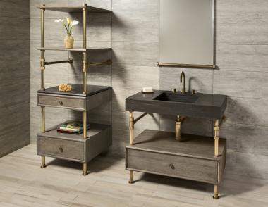 Stone Forest Elemental Collection Terra bath sink Console front angle