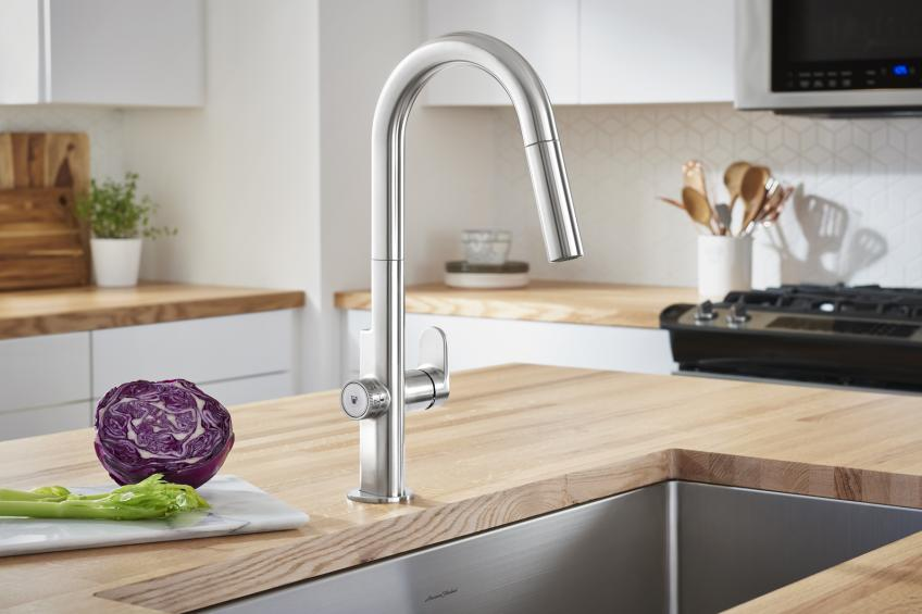 American Standard Beale MeasureFill electronic faucet one wood countertop