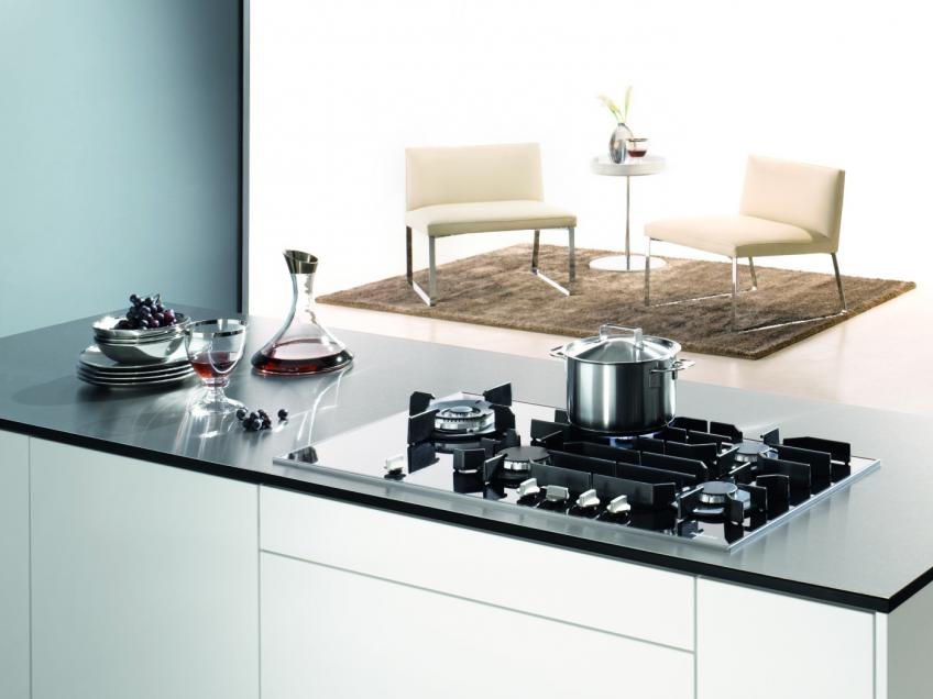 The new line of cooktops from Miele features a gas-on-glass configuration that allows the units to cook with even heat and permits easy clean-up.