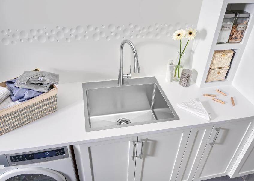 Blanco says its new Quatrus R15 single-bowl laundry sink is a new product that brings style and functionality to the space.