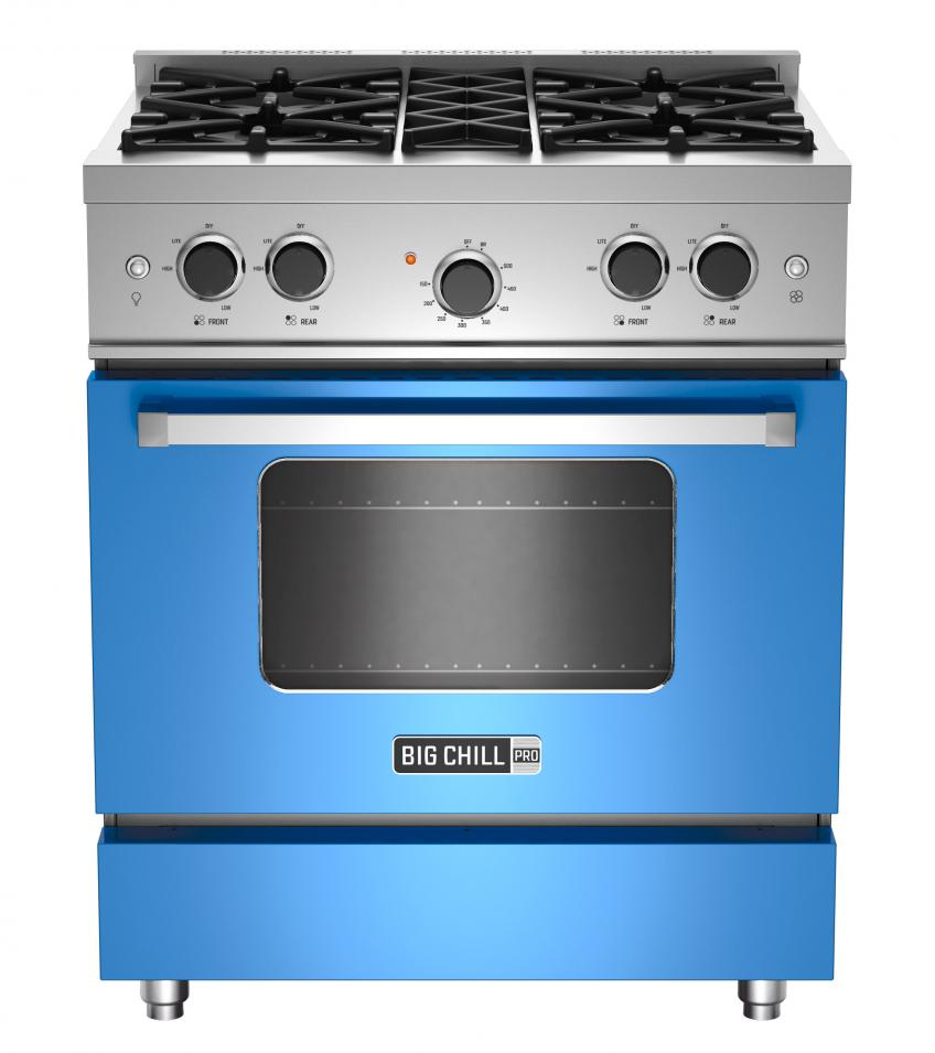 The 30-inch Pro range offers clean lines and bold colors. It features four burners with up to 18,000 BTUs, continuous grates, and a large-capacity oven. It comes in a range of standard colors or 200 custom hues.
