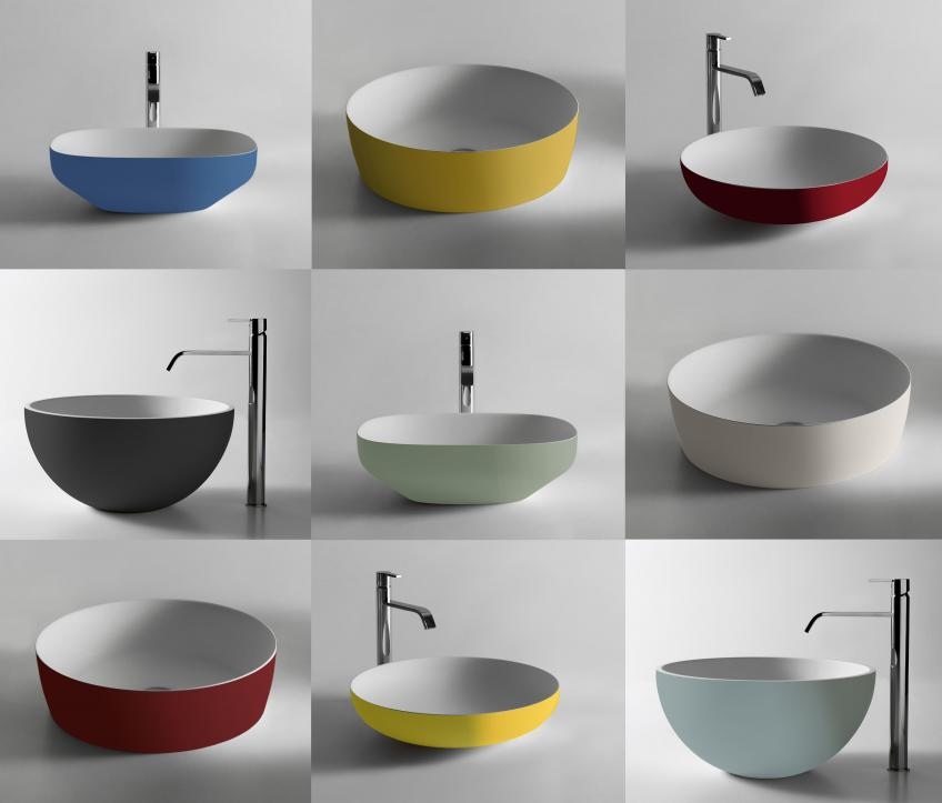 Collage of Flumood, a new collection of top-mount solid surfacing sinks that come in 31 bold colors.