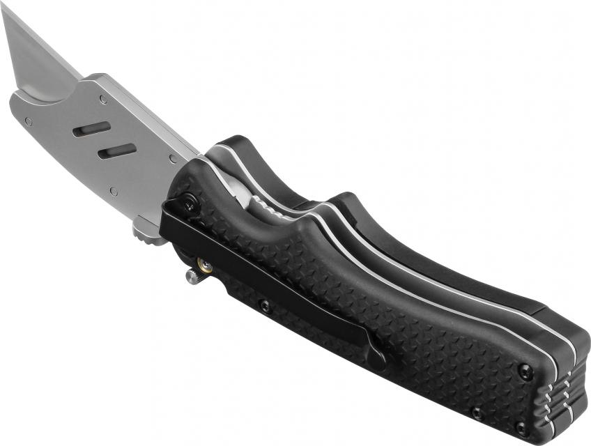 """Offering dual locking functionality, the DX190 folding razor knife helps prevent accidental punctures and lacerations, the manufacturer says. It can be locked open with both the liner lock, which engages automatically when the blade holder is opened, or with a double-lock mechanism. The tool has a fiberglass/nylon handle, an interchangeable """"E-Z replace"""" blade holder, thumb studs for ambidextrous opening, and a pocket clip. It measures 6.81 inches long and weighs 6.02 ounces."""