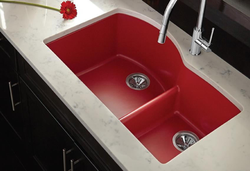 Elkay Manufacturing has created a Quartz Luxe collection within its Elkay Quartz brand and has added six new colors and 16 models. Red sink.