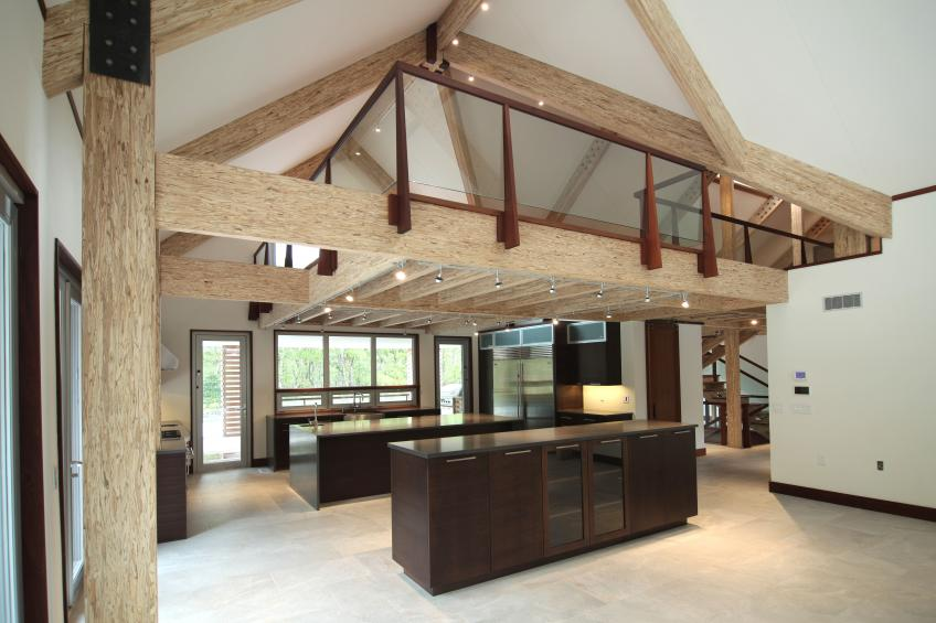 Engineered Beam Design ~ Exposed engineered wood completes modern barn house