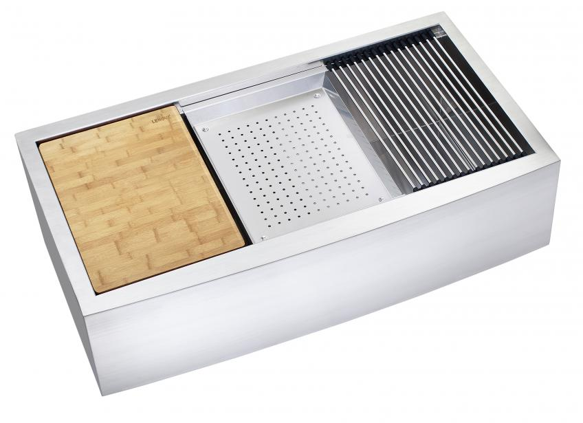 Merveilleux An Apron Front Sink From Lenova With A Colander, Grid Drainer, And Cutting