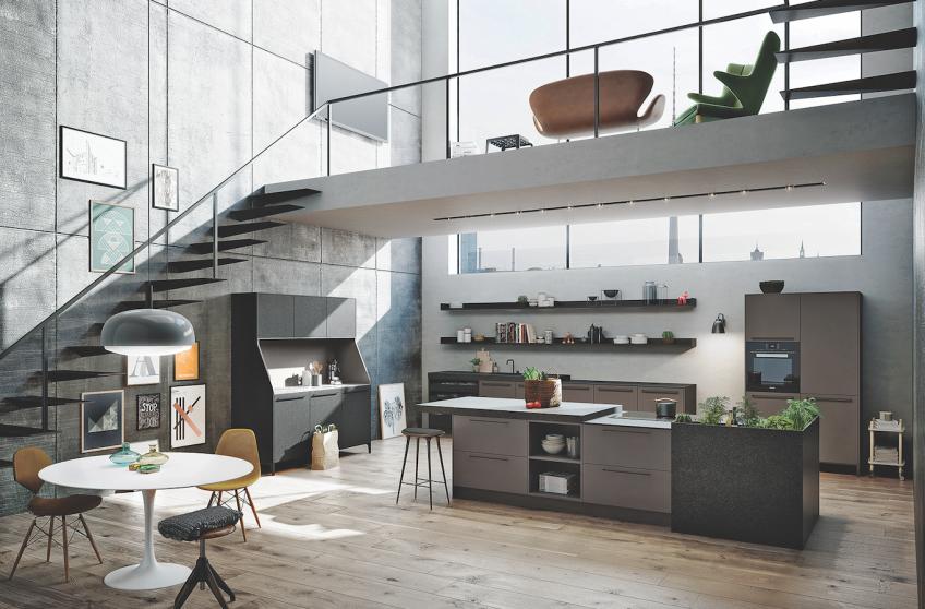 Urban themed kitchen under loft