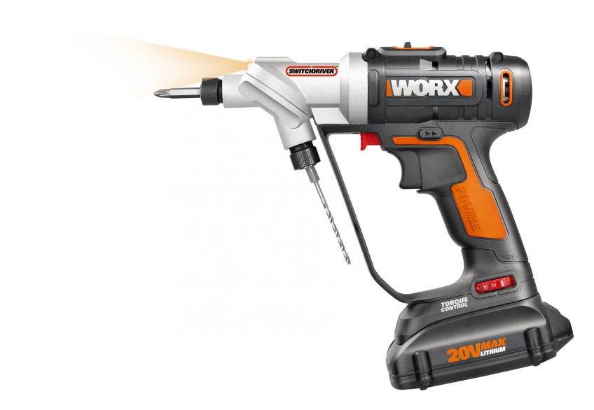 The 20-volt MaxLithium Switchdriver from WORX features a rotating head equipped with two ¼-inch chucks that can be loaded with different combinations of bits.  It allows users to drill a pilot hole and then rotate the head and sink the screw with a driver bit.