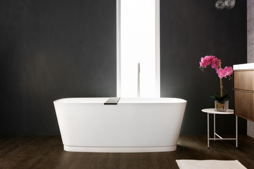 Wetstyle straight Bath tub wall hung vanity with flower