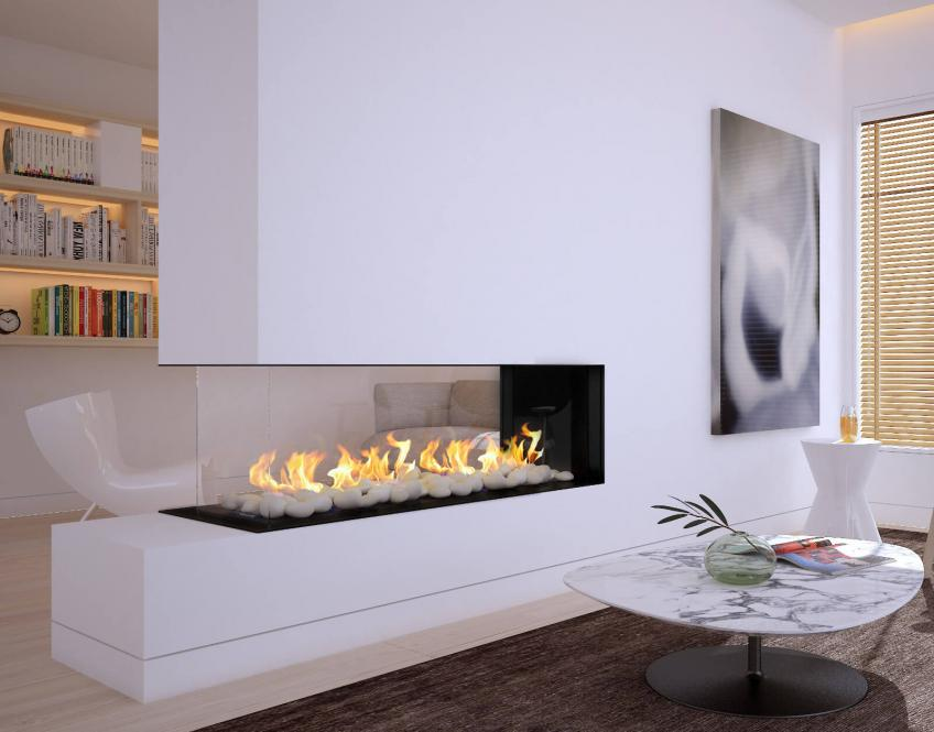 The manufacturer's Frameless Double Corner Modern Fireplace comes with everything needed for an easy installaion in the field. Available in eight sizes, the products either have a protective screen or double glass for safety.