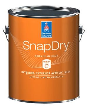 SnapDry door and trim paint from Sherwin-Williams in orange container