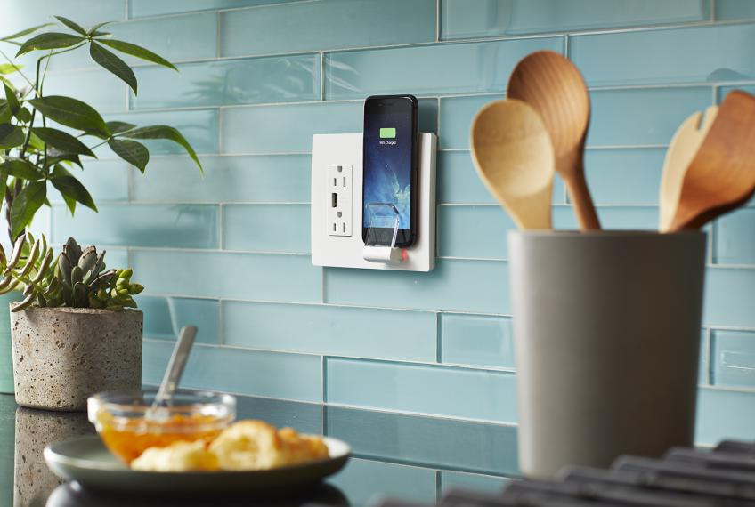 Legrand radiant wireless charger with smartphone