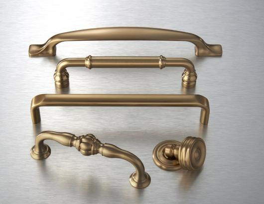 Top Knobs Devon hardware in honey bronze