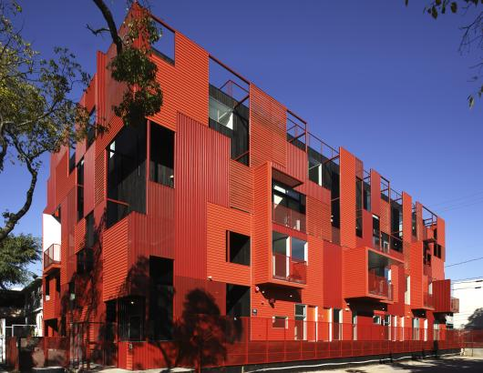 Formosa 1140 is a striking West Hollywood, Calif., condo building that cuts a dashing figure. To create a bright and durable exterior, architect Lorcan O'Herlihy, FAIA, chose custom corrugated panels from Metal Sales Manufacturing Corp. in Louisville, Ky.