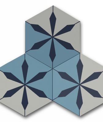 Blue and white hexagonal tiles from Clé Tile's Artist Cement Collection