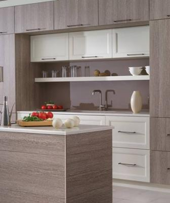 Dura Supreme Cabinetry company has debuted a new modern line of products that are faced with durable high-pressure laminates in 10 colors and textures.