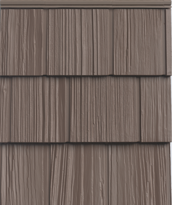 "The Uptown Collection vinyl siding line comes in high-impact colors and a number of different profiles. Designed to simulate the look of real cedar, the siding comes in contemporary hues that ""tap into today's hottest color trends and complement almost any finish,"" the company says. They also provide a refined backdrop for a bold pop of color on the doors and windows, the company adds."