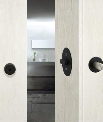 INOX Barn Door Lock black finish white door