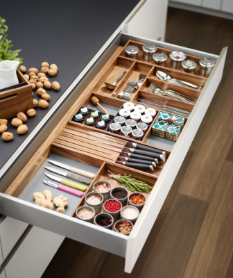 Richelieu STRAIGHTLINE Cabinet Organization System Open Drawer