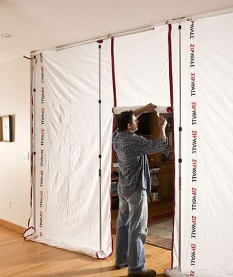 ZipFast reusable panel system creates an airtight dust-containment area as well as privacy for construction workers during renovation projects