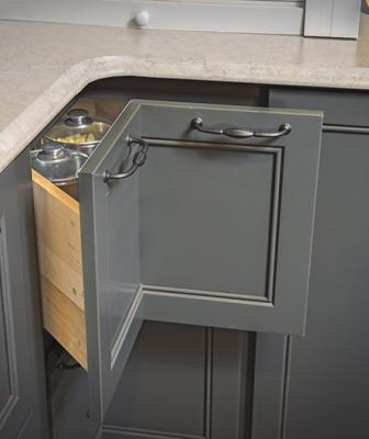 Corner cabinet drawer