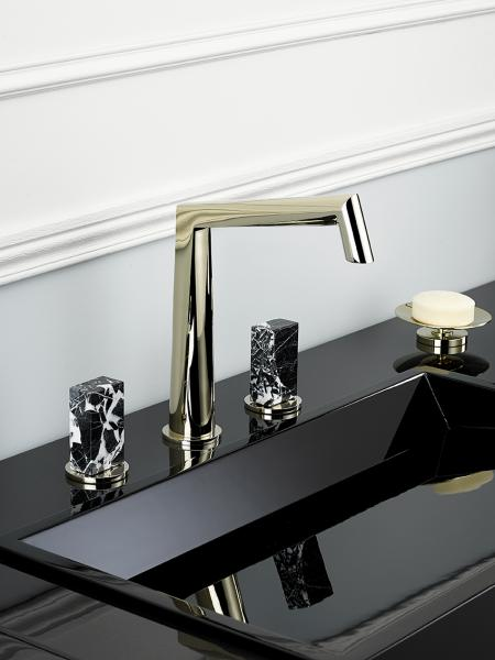 THG Montaigne faucet collection in brass with crystal knobs