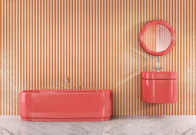 Bisazza Bagno MAHDAVI COLLECTION design by India Mahdavi Tub Vanity Striped Wall