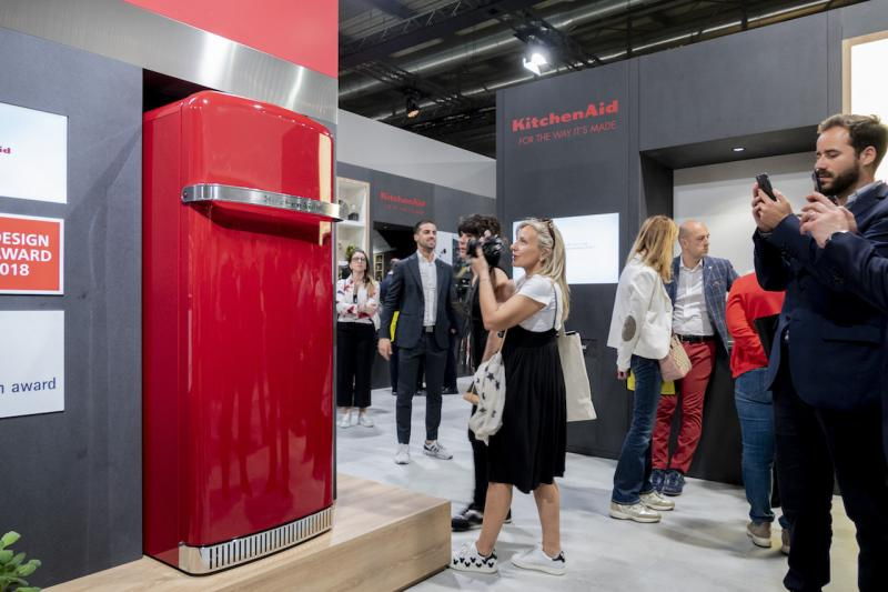KitchenAid red refrigerator